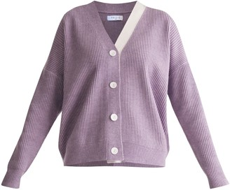 Knitted Cardigan With Side Neck Stripe In Lilac & White