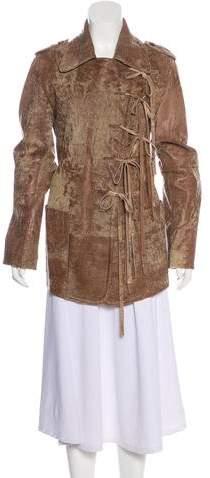 Ann Demeulemeester Leather Short Coat