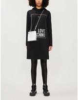 Love Moschino Lame logo-print hooded stretch-cotton mini dress