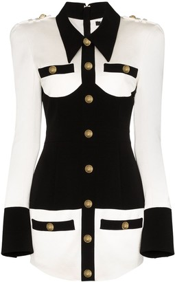 Balmain Square-Shoulder Two-Tone Mini Dress