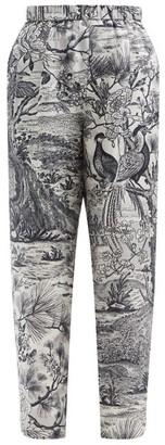 Biyan Portulaca Floral-print Silk Wide-leg Trousers - Navy White