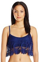 Jessica Simpson Women's Flower Power Crochet Flounce Bikini Top