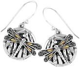 18K Gold & Sterling Silver Sweet Dragonfly Bamboo Earrings