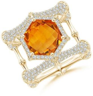 Natori Indochine Citrine Ring With Diamond Pave