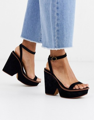 Free People leather gramercy platform heeled sandals-Black
