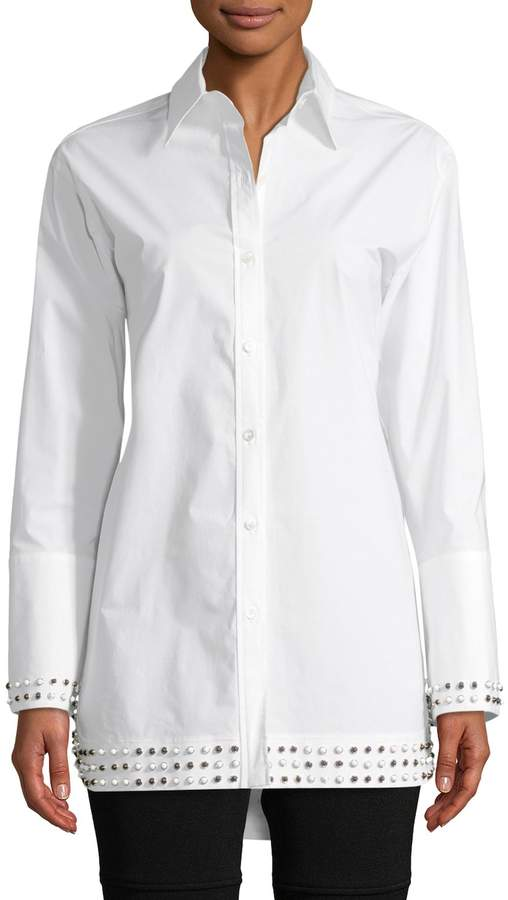 Derek Lam Women's Studded Boyfriend Shirt