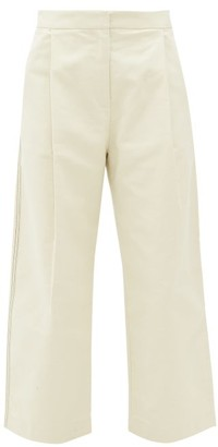Sara Lanzi Pleated Cotton-twill Wide-leg Trousers - Ivory