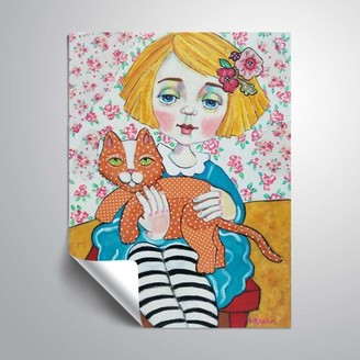ArtWall Les Yeax Bleu et Le Chat Orange , Removable Wall Art Mural by Holly Wojahn