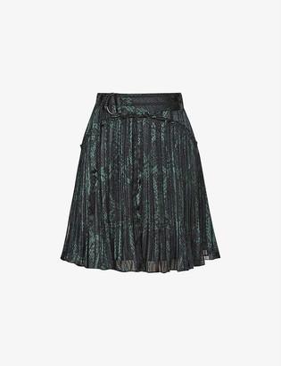 Reiss Orielle snakeskin-print crepe mini skirt