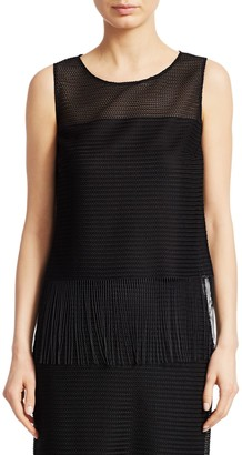 Akris Punto Sleeveless Fringed Blouse