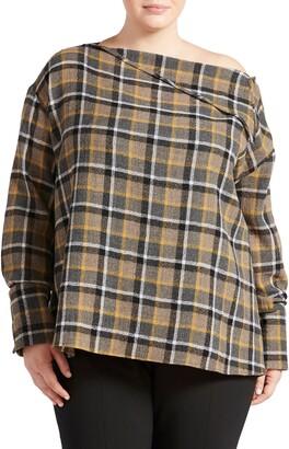 Pari Passu Plaid Wool Gauze Button Shoulder Top
