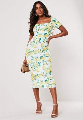 Missguided Lemon Print Milkmaid Bodycon Midi Dress