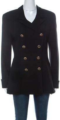 Escada by Margaretha Ley Vintage Black Wool Double Breasted Jacket M