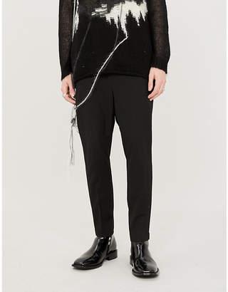 Isabel Benenato Satin-trim slim-fit virgin wool trousers