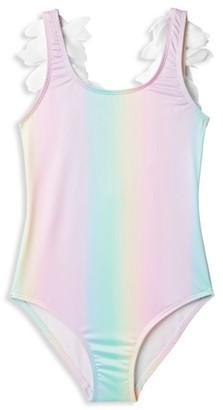 Stella Cove Little Girl's & Girl's One-Piece UPF 50+ Rainbow Petal Swimsuit