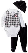 Little Me Plaid Vest, Bodysuit, Pant, & Hat Set (Baby Boys)
