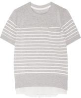 Sacai Satin-paneled Striped Cotton Top - Gray