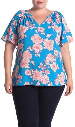 Bobeau Floral Print Split Neck Short Sleeve Blouse (Plus Size)