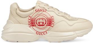 Gucci Men's Rhyton print leather sneaker