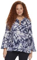 Rock & Republic Plus Size O-Ring Crepe Top