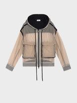 DKNY Runway Hooded Zip Through Mesh Jacket