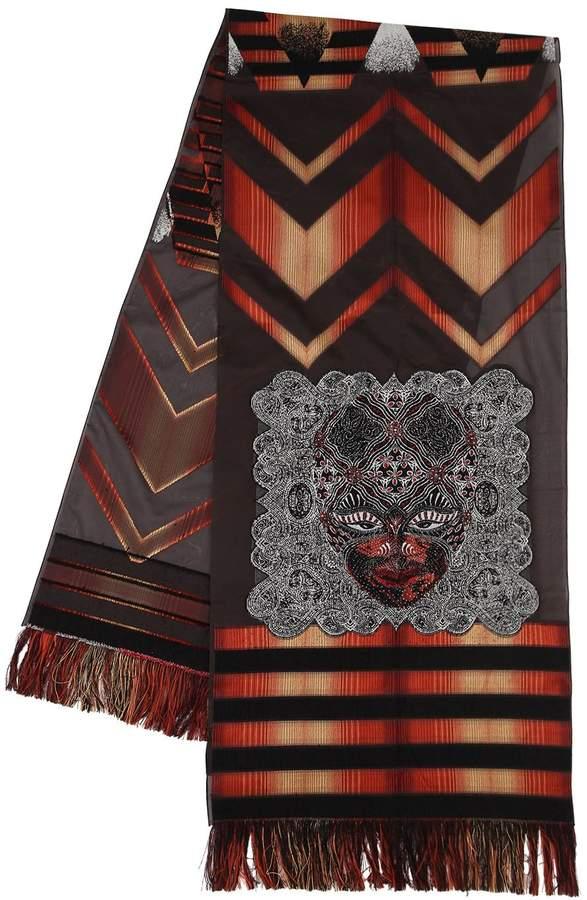 Etro Africa Motif Wool & Silk Evening Scarf
