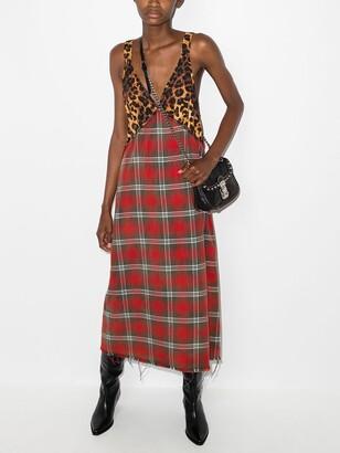 R 13 Grunge plaid slip dress