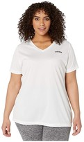 adidas Plus Size Designed 2 Move Tee (White/Black) Women's Clothing