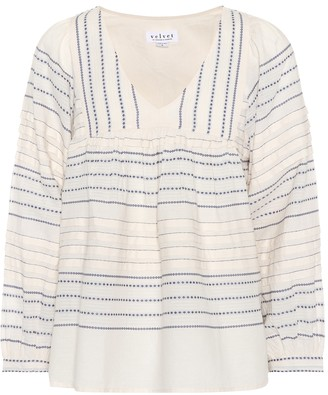 Velvet Mixed stripe cotton top