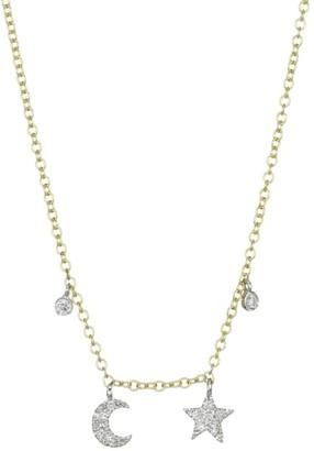 Meira T Yellow Gold Mini Diamond Moon & Star Necklace