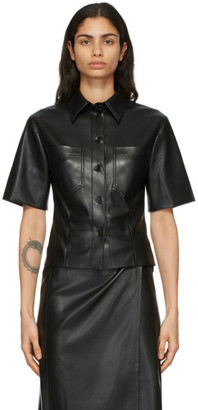 Nanushka Black Vegan Leather Sabine Short Sleeve Shirt