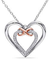 Concerto Diamond Two-Tone Infinity Double Heart Necklace