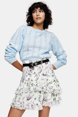 Topshop IDOL Blue Pretty Pointelle Sweater