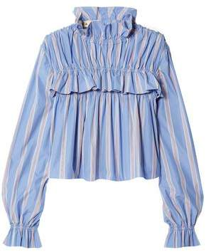 Marni Ruffled Striped Cotton-poplin Top