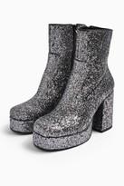 Topshop Womens Hogan Silver Platform Boots - Silver