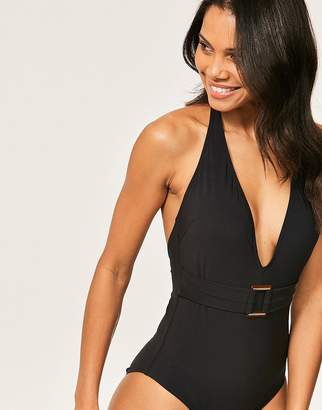Figleaves Icon Marseille Belted Plunge Tummy Control Swimsuit
