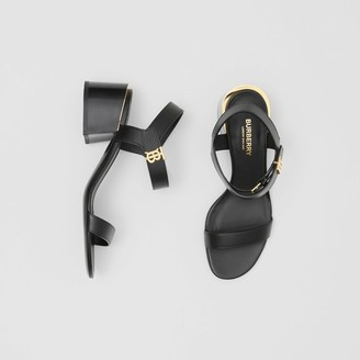 Burberry Monogram Motif Leather Block-heel Sandals