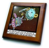 N. 3dRose LLC ft_1622_1 Londons Times Funny Aliens Cartoons - Outta This World Bagels Creme Cheese - Framed Tiles