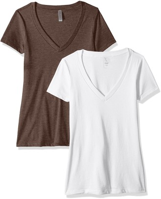 Clementine Apparel Women's Petite Plus Deep V-Neck T-Shirt (Pack of Two)