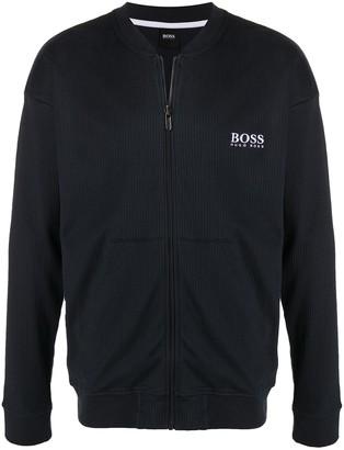 HUGO BOSS Rib Knit Zip Cardigan