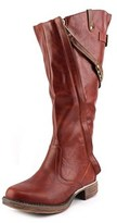 Two Lips Pull Up Women Round Toe Synthetic Brown Knee High Boot.