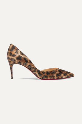 Christian Louboutin Iriza 70 Metallic Leopard-print Satin Pumps - Leopard print