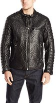 Andrew Marc Men's Broadway Bubble Faux Leather Moto Jacket with Removable Liner