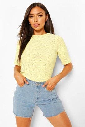 boohoo Petite Broderie Anglaise T-Shirt