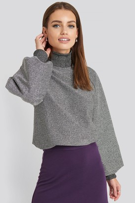 NA-KD High Neck Balloon Sleeve Sweater Black