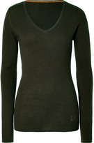 Dear Cashmere Moss Green Cashmere V-neck Pullover