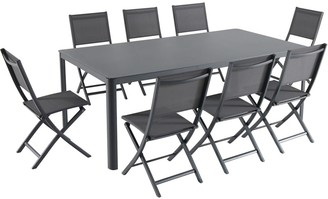 """Hanover Fresno 9-Piece Outdoor Dining Set with 8 Folding Chairs and a 42"""" x 83"""" Glass-Top Table"""