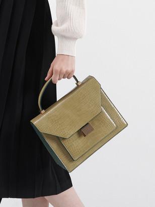 Charles & Keith Croc-Effect Top Handle Bag