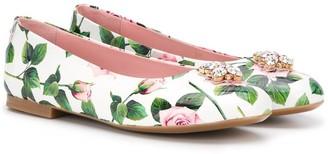 Dolce & Gabbana TEEN floral-print ballerina flats