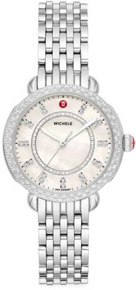 Michele Sidney Classic Stainless Steel & Diamond Bracelet Watch